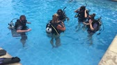 polinésia : Group of people learn to scuba dive in a pool. Scuba diving is one of the most popular water sports in the world, with its worldwide popularity constantly on the rise.