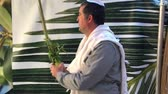domorodý : Jewish man blessing on the four species (etrog,lulav ,hadass,aravah) in a sukkah or succah during the week-long Jewish festival of Sukkot. Dostupné videozáznamy