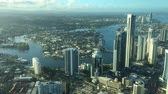 Aerial urban time lapse landscape view of Surfers Paradise skyline in Gold Coast Queensland, Australia. Стоковые видеозаписи