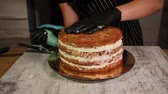 ananász : Assembling the nut-banana cake layers, smearing with syrup Stock mozgókép