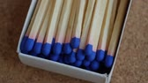 matchstick : Matches with blue brimstone rotating, close up video. Slow motion. Stock Footage