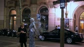 spaniards : Living statue of fairy on La Rambla in Barcelona Stock Footage