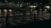 floating in the river at night in Paris