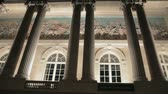 fresk : Columns, arched windows and fresco of building in Paris