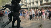 Living sculpture on the main street in Barcelona