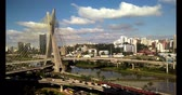 Cable-stayed bridge in the world, São Paulo Brazil, South America, the citys symbol Стоковые видеозаписи