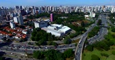 Drone footage of an avenue with a lot of traffic in a big city, 23 May Avenue, Sao Paulo, Brazil, South America Стоковые видеозаписи