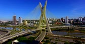 Cable stayed bridge in the world, Sao Paulo Brazil, South America Стоковые видеозаписи