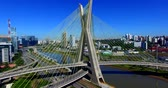 kablolar : Cable-stayed bridge in the world, Sao Paulo Brazil, South America, the citys symbol Stok Video