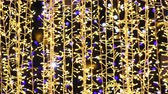 LED Golden Christmas Lights Background. 4K Ultra HD