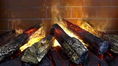open fire : Close-up of the burning of firewood in the fireplace. Burning logs with a bright orange flame. HD video Stock Footage