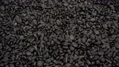 cascalho : 4K view of black pebble stones as a background approaching camera close-up. Stock Footage