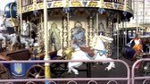 4K view of a rotating Christmas carousel on St. Sophia Square. Kiev, Ukraine