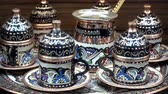 set : Turkish tea set on the table. HD video Stok Video