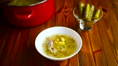 cucumber soup : rassolnik soup in a bowl