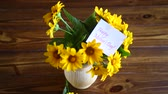 sideview : bouquet of yellow big daisies Stock Footage