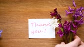 oublier : spring beautiful flowers of a hyacinth with a thank you card Vidéos Libres De Droits