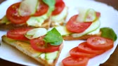 tasty sandwich with curd paste, fresh cucumbers and tomatoes
