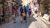 normandiya : MONT SAINT MICHEL, FRANCE - July 4, 2018: People shopping in the center of Mont Saint-Michel, France Stok Video