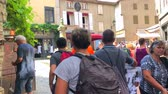 brittany : MONT SAINT MICHEL, FRANCE - July 4, 2018: People shopping in the center of Mont Saint-Michel, France Stock Footage