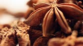 christmas fragrances : Pile of star anise fruits and seeds,rotating Stock Footage