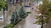 flooded road : City flooded after a heavy rain Stock Footage
