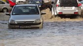 flooded road : Tulcea Romania  September 13 2013: European city flooded after a heavy rain