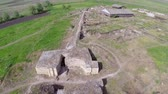 navigation : Ancient city of Halmyris aerial perspective. Halmyris was a GetoDacian fortified settlement a greek emporium and a roman frontier stronghold.Location: DobrogeaRomania Stock Footage