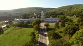 monastic : Aerial view of Cocos monastery in Dobrogea, Romania Stock Footage