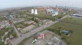 bauxite : Aerial view of Tulcea city, industrial area and bauxite alumina refinery Stock Footage