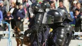 riot control : TULCEA, ROMANIA - APRIL 28: Gendarmes ready to take action during a riot-control exercise on April 28, 2017 in Tulcea, Romania