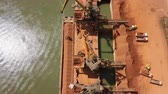 bauxite : Industrial cargo port with operating cranes on the Danube river, aerial view