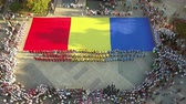 rumunia : TULCEA, ROMANIA - AUGUST 08: Opening ceremony (aerial view) of the International Folklore Festival for Children and Youth - Golden Fish on August 08, 2018 in Tulcea, Romania. Wideo