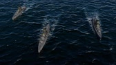 armement : 3d animation of a battleship fleet in the open ocean at high speed