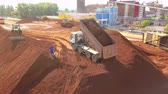 bauxite : TulceaRomania - June 01, 2019: Aerial view of a ore deposit and alumina processing plant