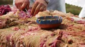 Farmer seasoning a whole lamb with a mix of herbs and salt before drying the meat Stock Footage