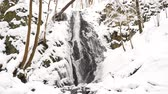 refração : Snowy waterfall in winter forest. Basalt stones waterfall bellow covered by fresh powder snow. Stony Exposed stream banks. Authentic sound of bubbles stream.