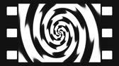 spirally : Animated abstract illustration of black and white spirals rotating in simulated film frame. Black and white animation, seamless loop. Stock Footage