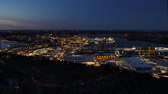 ストックホルム : Aerial view of illuminatet city after sunset. Stockholm, Sweden 動画素材