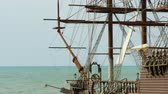 irreal : An artificial sailing ship at the beach of Black sea Stock Footage