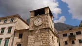 stadtplatz : Medieval clock tower in old city of Kotor, Montenegro. Tilt up shot