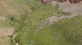 горный хребет : Flying above mountain slope covered with green grass and stones Стоковые видеозаписи