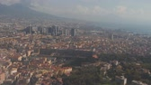 Cityscape of Naples from landing airplane. Aerial view of big city