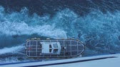 watercraft : Pilot boat near side of big ferryboat. Top view of motorboat and bow wave on sea surface Stock Footage