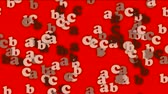 conceptual : cartoon letter paper card matrix background,alphabet abc,computer screen.
