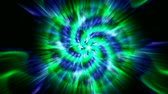 glowing : green flower mandala fancy pattern and rays laser light,plant vines growing,rotation ribbon and particles chain,swirl profiled microbe. Stock Footage