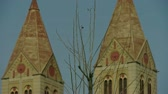 divórcio : Panoramic of Qingdao Catholic Church & tree. Stock Footage