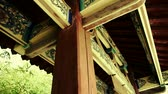 lookingup : looking up roof eaves,China ancient architecture in bamboo forest,carved beams & painted buildings.