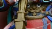 buddhista : Chinese immortals Buddhist samurai Vajra sculpture in carved beams painted buildings. Stock mozgókép