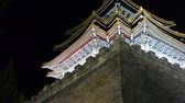 battlements : Panoramic of Beijing Forbidden City turret in night.Gorgeous palace.the Great Wall brick battlements.